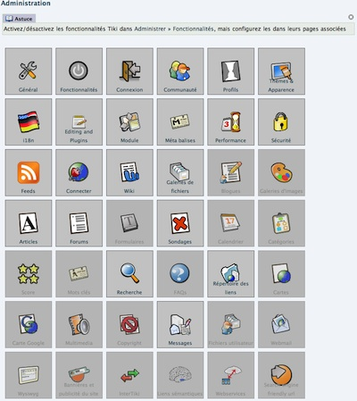 TikiWiki - interface d'administration