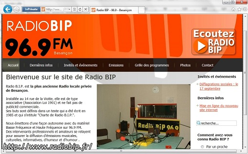 Radio BIP- Besançon - Windows Internet Explorer 9
