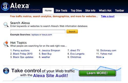 Alexa : page d'accueil