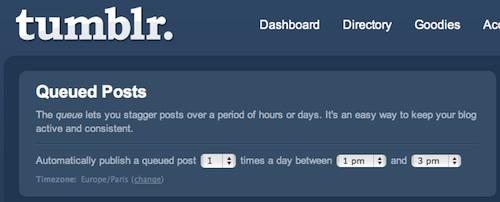 Paramétrage de la file d'attente Tumblr