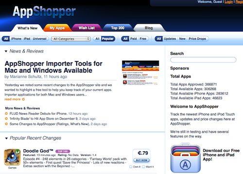 Des applications gratuites avec AppShopper