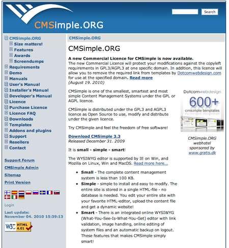 CMSimple : un CMS très léger