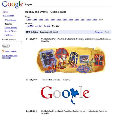 """Page spéciale """"doodle"""""""