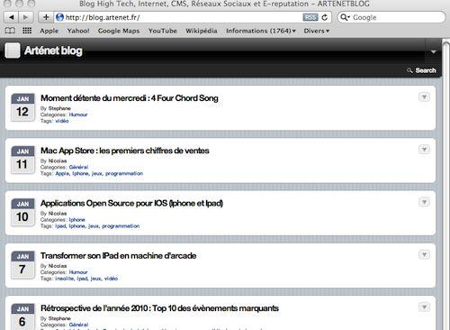 Le blog affiché avec l'agent utilisateur de l'IPhone