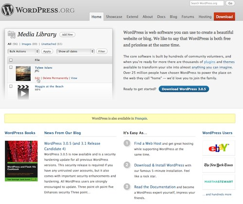 Le site de WordPress un CMS pour les blogs