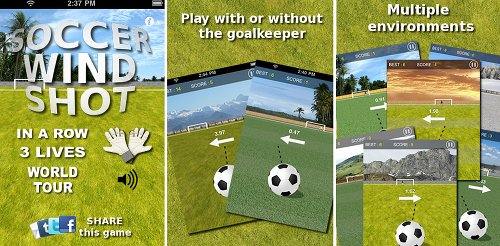 soccer iphone jeu foot Jeu de football gratuit pour iPhone : Soccer Wind Shot
