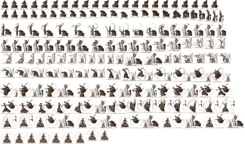 Feuille de sprites du Doodle Martha Graham
