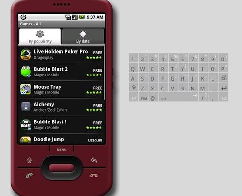 Android Market sur simulateur