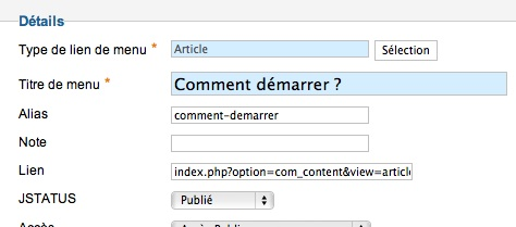 Bien renseigner les alias de menus et articles dans Joomla