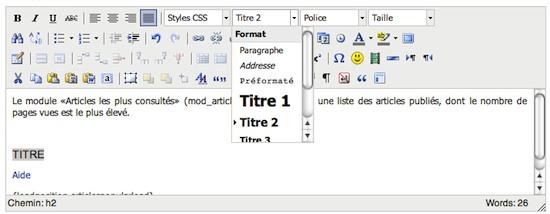 """Ajouter un """"titre 2"""" (ou balise h2) avec TinyMCE"""
