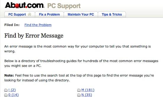 Error code : about.com