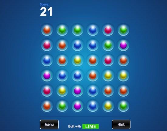Un exemple de jeu développé avec Lime JS