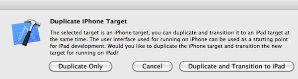 Dupliquer vers une version iPad dans Xcode