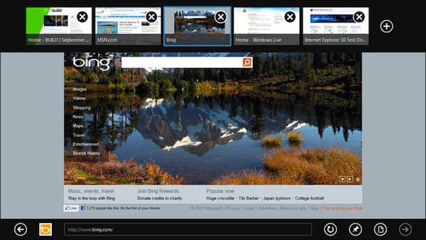 Bing dans Windows 8 : aussi bien à la souris qu'aux doigts (tactile)