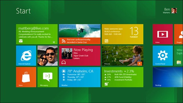 L'interface de Windows 8
