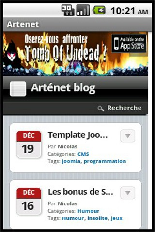 blog Arténet version Android