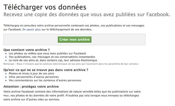 Demande de création d'une archive contenant les données Facebook
