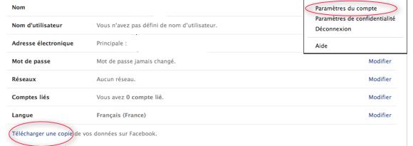 Télécharger ses données personnelles Facebook