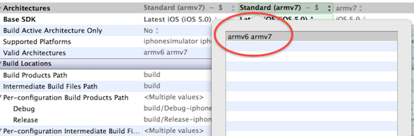 Armv6 et armv7 pour la compilation iPhone