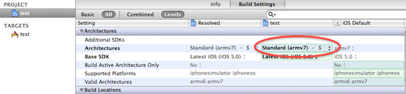 build settings architectures Mon application ne fonctionne pas sur iPhone 3G (armv6, armv7)