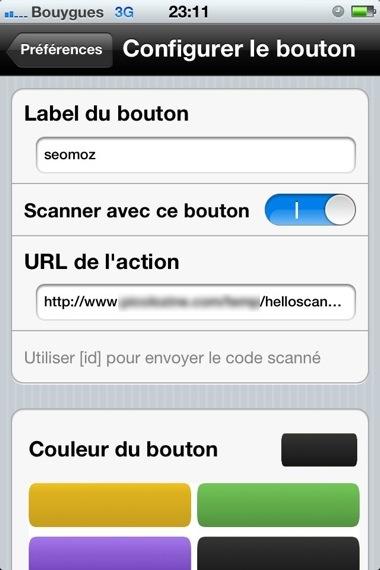 Configuration d'un bouton dans Helloscan iPhone