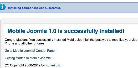 Installation de Mobile Joomla avec succès