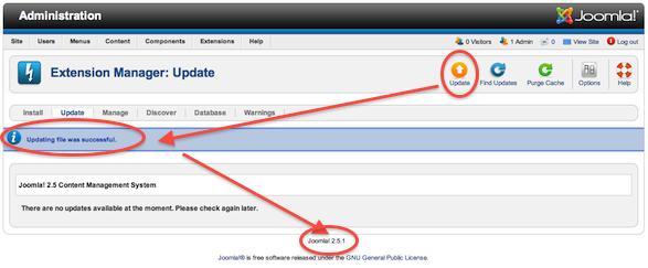 Fin de la mise à jour Joomla 2.5