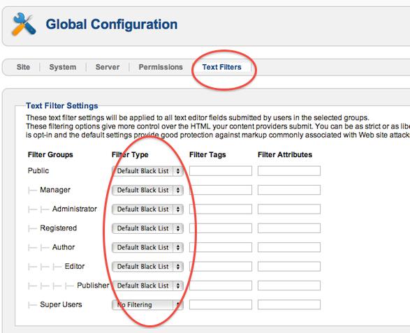 Modification des filtres de texte Joomla 2.5