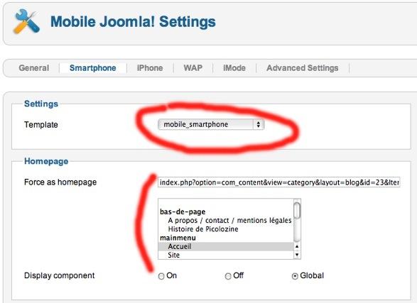 Configuration et sélection du template dans Mobile Joomla