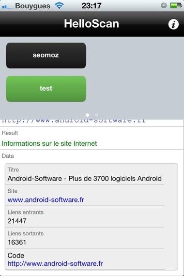 resultat scan helloscan Faire un rapport SEO au supermarché avec les QR Code