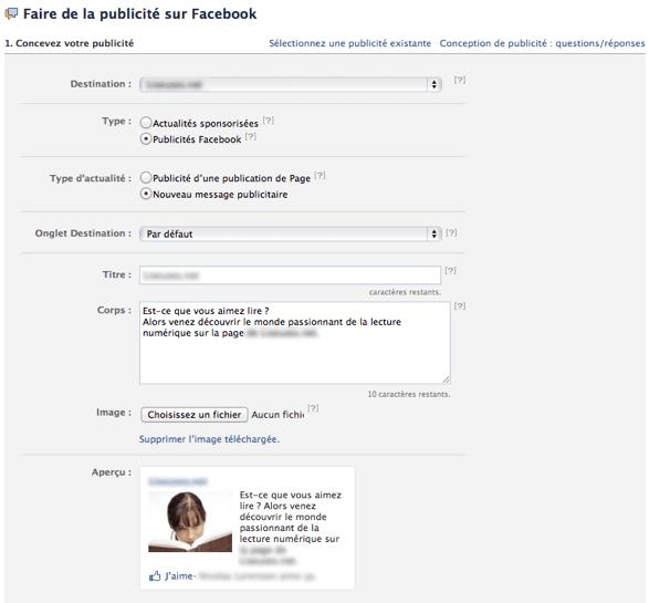 Descriptif de la publicité Facebook pour la page Fan