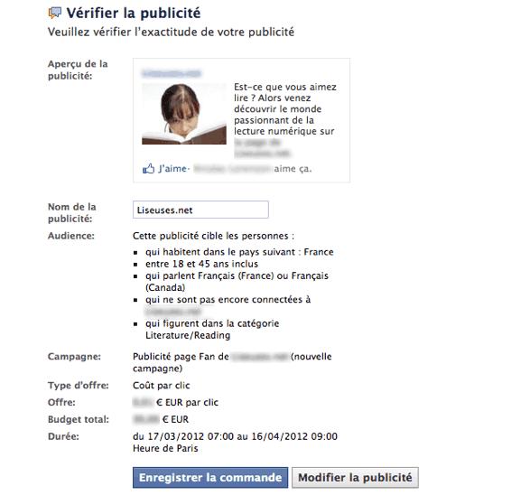 Récapitulatif publicité Facebook