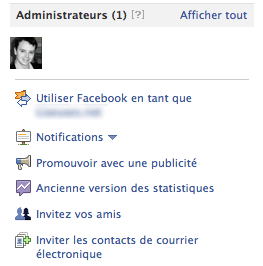 Options promotionnelles d'une Fan Page